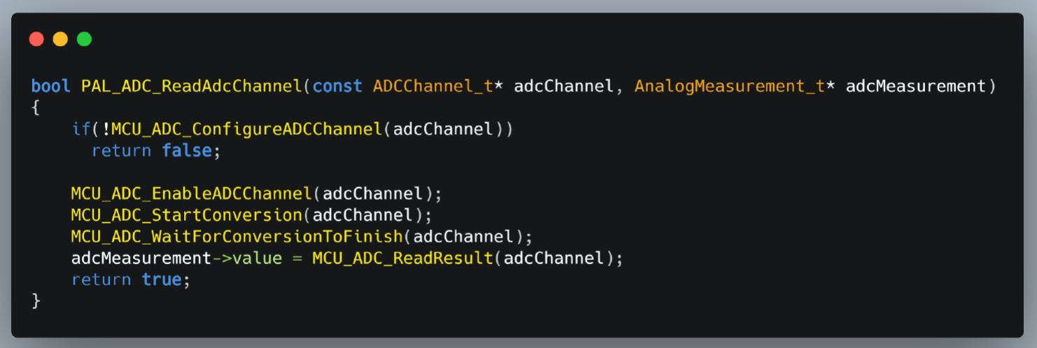ADC reading Processor Abstraction Layer